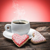 Hot coffee and homemade cookies — Stockfoto