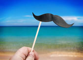Paper mustache on stick — Stock Photo