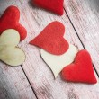 Felt and wooden hearts — Stock Photo #63723193