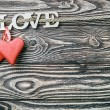 Hearts and word LOVE — Stock Photo #63723207