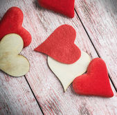 Felt and wooden hearts — Foto Stock