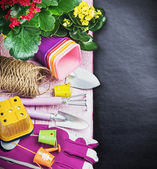 Garden tools with flowers — Stock Photo