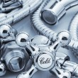 Plumbing and tools on a light background — Stock Photo #67319881