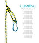 Carabiner and rope climbing equipment — Stock Photo