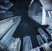 Futuristic landscape of silhouettes of skyscrapers — Stock Photo