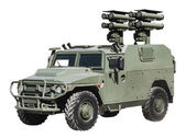 Mobile anti-missile system in armored car — Stock Photo