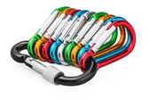 Colorful carabiners for climbing — Stock Photo