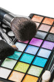 Make-up eyeshadows palette with brushes — Stock Photo