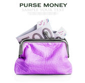 Purse with euro banknote — Stock Photo