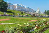 Tourists in Peterhof fountains of the Grand Cascade — Stock Photo