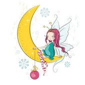 Cute little Christmas fairy — Stock Vector