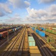 Freight train with color cargo containers — Stock Photo #59115905