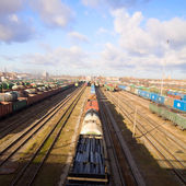 Freight train with color cargo — Stock Photo
