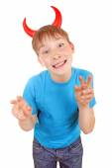 Kid with Devil Horns — Stockfoto