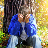 Sorrowful Teenager outdoor — Stock Photo