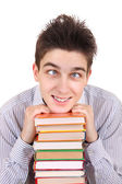 Funny Teenager with the Books — Stock Photo