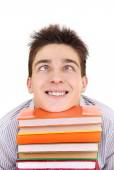 Funny Student with the Books — Stock Photo