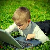 Kid with Laptop — Stock Photo