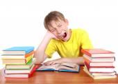 Tired Schoolboy yawning — Stock Photo