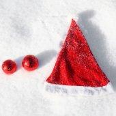 Santas Hat on the Snow — Stock Photo