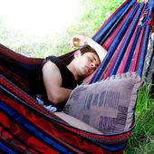 Teenager sleeping in the Hammock — Stock Photo