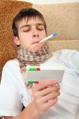Sick Teenager with Thermometer — Foto Stock