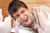 Sick Teenager yawning — Stok fotoğraf
