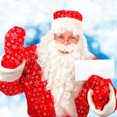 Noel Baba boş kağıt ile — Stok fotoğraf