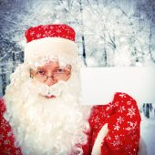Santa Claus with Blank Paper — ストック写真
