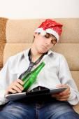 Teenager sleep with a Beer — Stock Photo