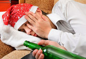 Teenager sleep with a Beer — Stock Photo