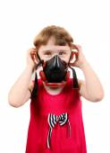 Little Girl in Gas Mask — Stock Photo