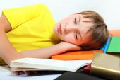 Tired Teenager with a Books — Stockfoto