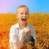 Kid in the Summer Field — Stock Photo