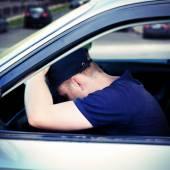 Man asleep in the Car — Stock Photo
