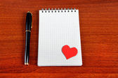 Note Pad with Heart Shape — Stock Photo