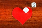 Heart Shapes and Dices — Stock Photo