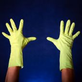 Hands in Rubber Gloves — Stock Photo
