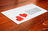 Envelope with a Heart Shapes — Стоковое фото