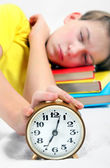 Kid sleep with Alarm Clock — Stock Photo
