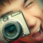 Teenager with Photo Camera — Stock Photo