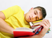 Tired Teenager sleep on the Books — Stock Photo
