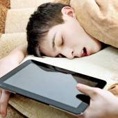 Teenager sleep with Tablet — Stock Photo