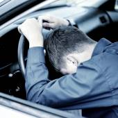 Young Man sleep in a Car — Stock Photo