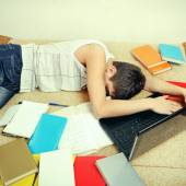 Tired Student sleep — Stock Photo