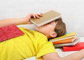 Teenager sleep with a Books — Stock Photo