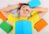 Tired Student with a Books — Stock Photo