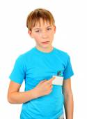 Sad Kid with a Badge — Stock Photo