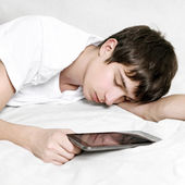 Young Man sleep with Tablet — Stock Photo