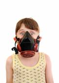 Little Girl in the Gas Mask — Stock Photo